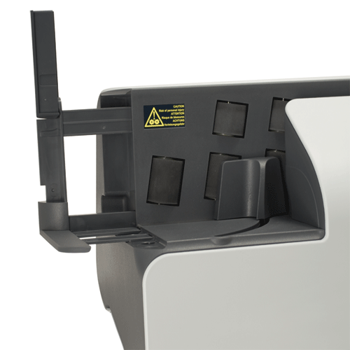 Easy-to-use support arm extends to hold large envelopes