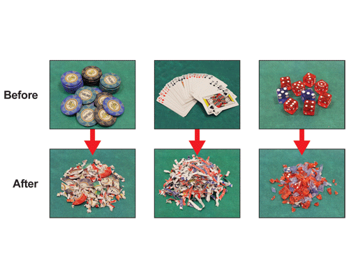 Shreds retired casino chips, playing cards and dice