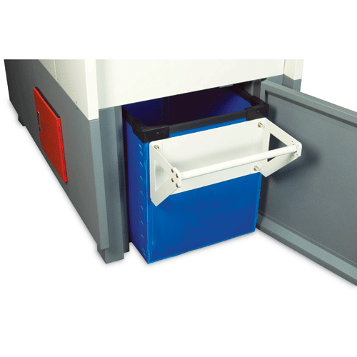 Rugged molded plastic waste bin on casters for easy removal of shredded material